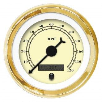 Aurora Instruments 2493 American Classic Assembled Turbo Gauge Gold Face, Black Classic Needles, Chrome Bezels