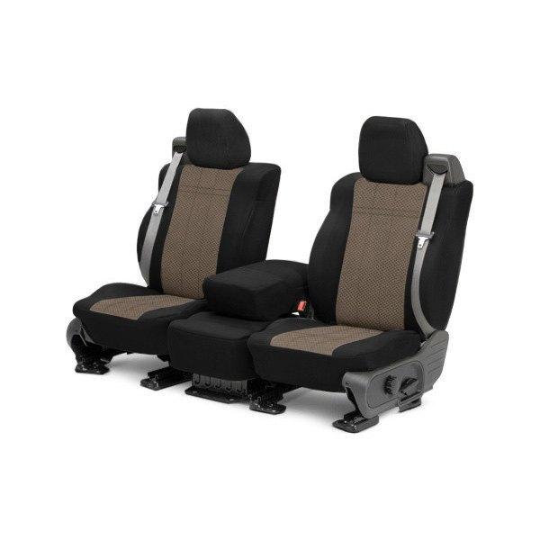 CalTrend® - EuroSport 1st Row Black & Beige Custom Seat Covers