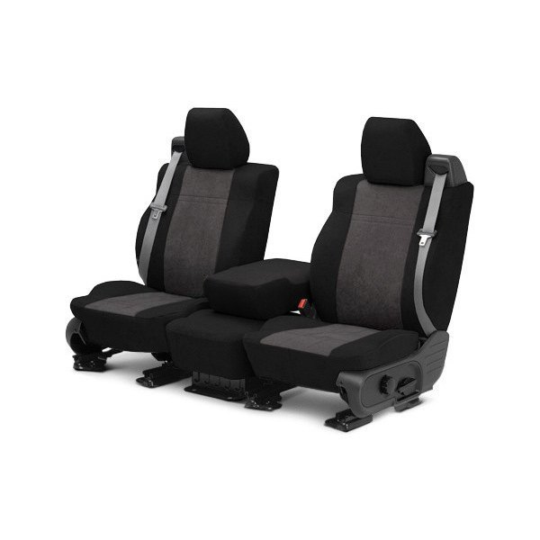 CalTrend® - MicroSuede 1st Row Black & Charcoal Custom Seat Covers