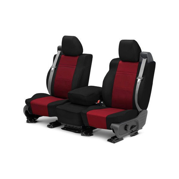 CalTrend® - NeoSupreme 1st Row Black & Red Custom Seat Covers