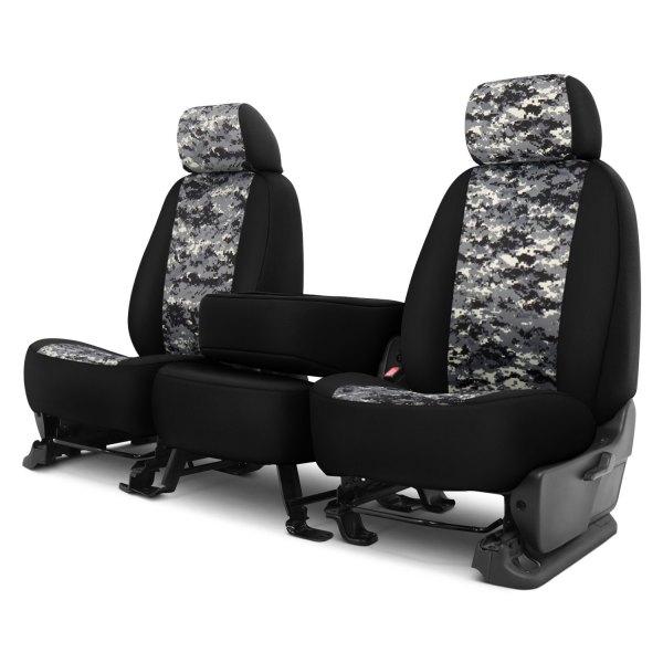 Dash Designs® - Camo™ 1st Row Digital Charcoal with Black Custom Seat Covers