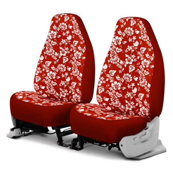 Dash Designs® - Hawaiian™ 1st Row Red Custom Seat Covers