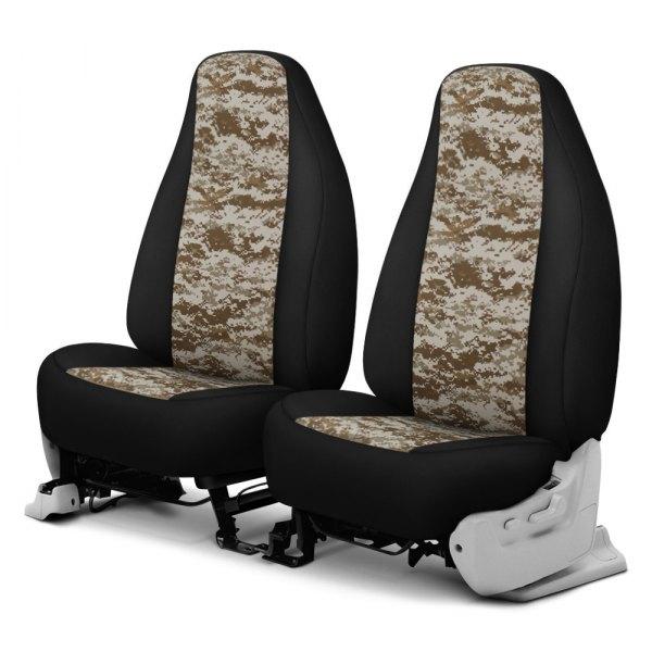 Dash Designs® - Camo™ 1st Row Digital Tan with Black Custom Seat Covers