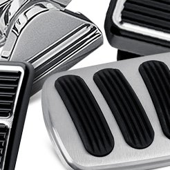United Pacific Brake Pedal Pad Stainless Steel Polished Round Ford Each A6210
