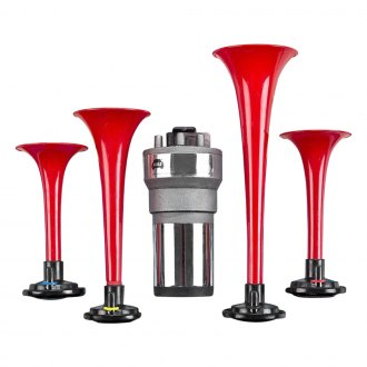 wolo� - four durable red plastic trumpets wedding march musical air horn